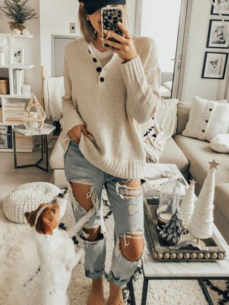 Comfy Long Sleeve Buttoned Casual Sweater