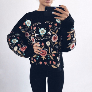 Vintage Handmade Floral Embroidery Casual Plus Size Sweater Outerwear