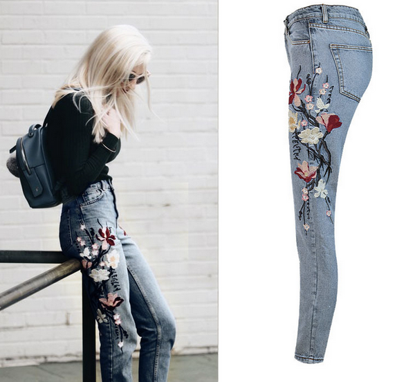 Fashion Casual Floral Embroidered Jeans Denim Pants