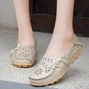 Soft Hollow-out Bow Trim Summer Flat Shoes Comfy Casual Daily Loafers