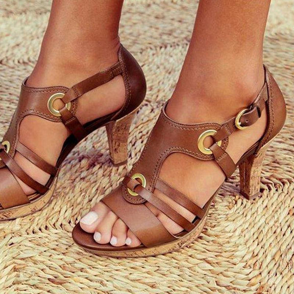 Fashion Vintage High Heels Eyelet Buckle Sandals