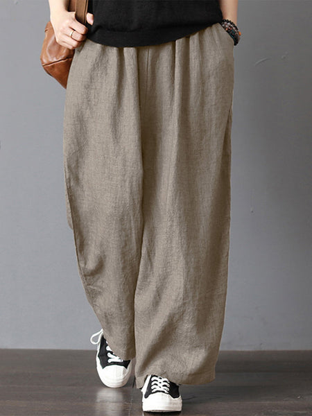 Casual Solid Loose Pants
