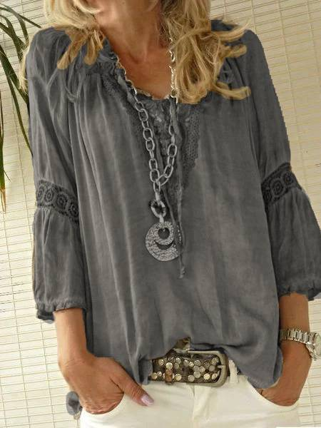 Women's Boho Style Vintage Plus Size Vacation Casual Blouse Long Sleeve Tops