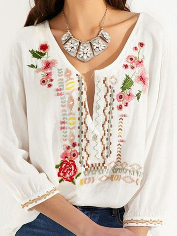 Vintage Floral Embroidery Plus Size Casual V Neck Shirts & Tops
