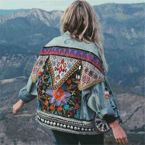 Women's ethnic style floral embroidery loose denim jacket
