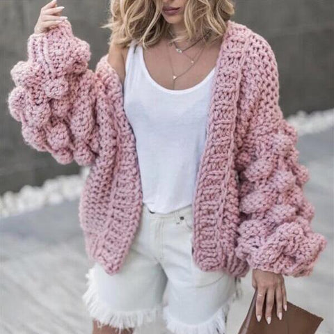 Oversized Chunky Thick Cable Knitted Cardigan Ruffle Sleeve Plus Size Sweater