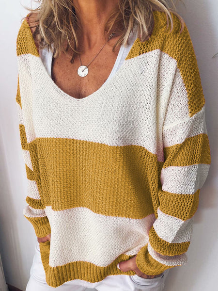 Spring/Fall Hollow-carved Striped V Neck Chic Sweaters