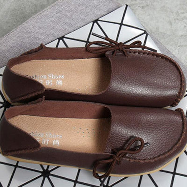 Soft PU Flat Non-slip Bow-trim Flat Shoes Comfy Casual Daily Loafers