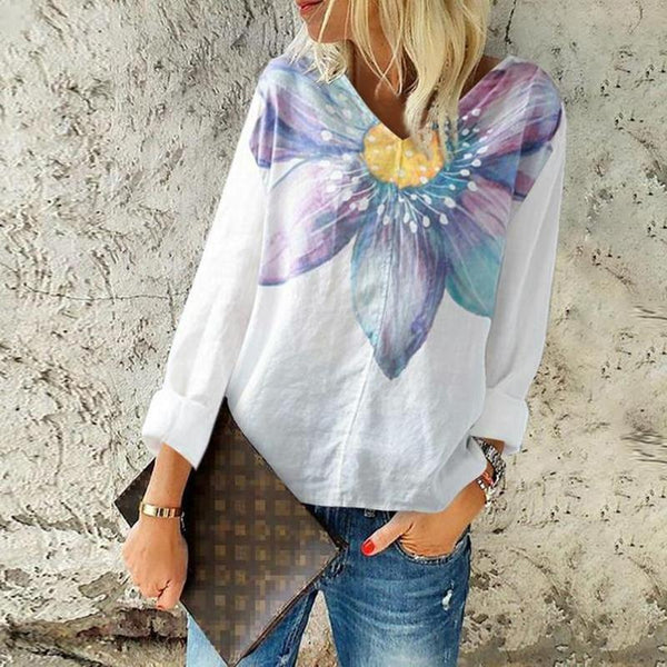Boho Style Vintage Plus Size Vacation Casual Printed V Neck Loose Blouses