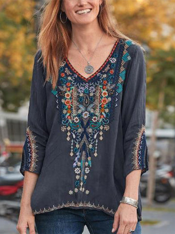 Boho style V Neck Crop-Sleeved Cotton Floral Embroidery Ethnic Blouse Shirt
