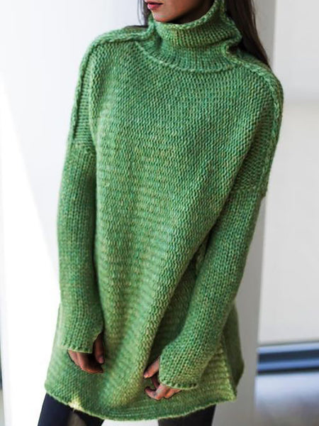 Women Knitted Casual Turtleneck Long Sleeve Sweaters Plus Size Pullovers-TOPS-Wotoba-Green-S-Wotoba