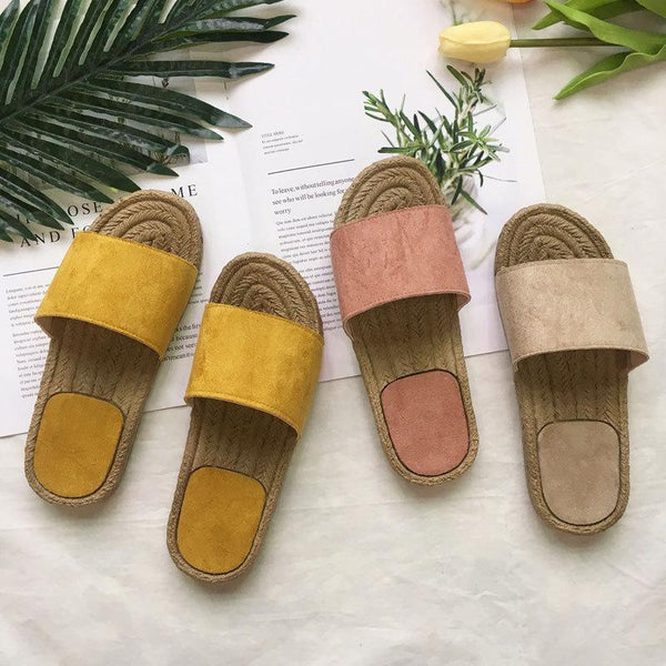 Women Vacation Casual Comfy Straw Sandal Slippers