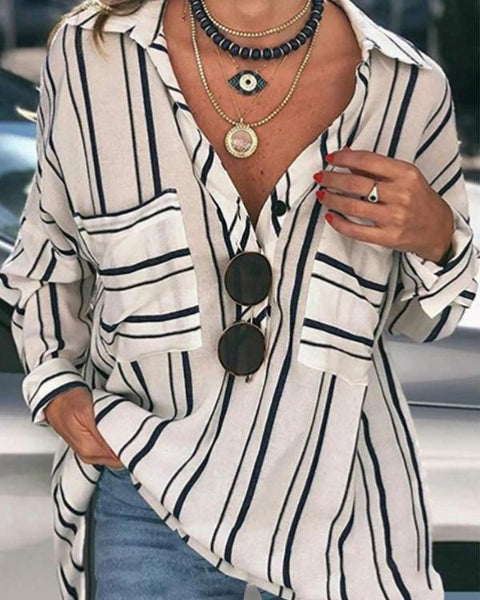 Casual Striped Buttoned Down Plus Size Blouses Shirts