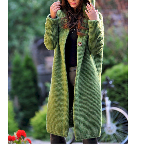 Plus Size Casual Solid Color Long-Sleeve Knitting Coats Chunky Sweater