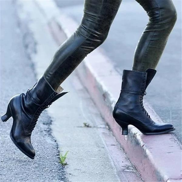 Women's Lace-Up Retro Low Heel Leather Boots