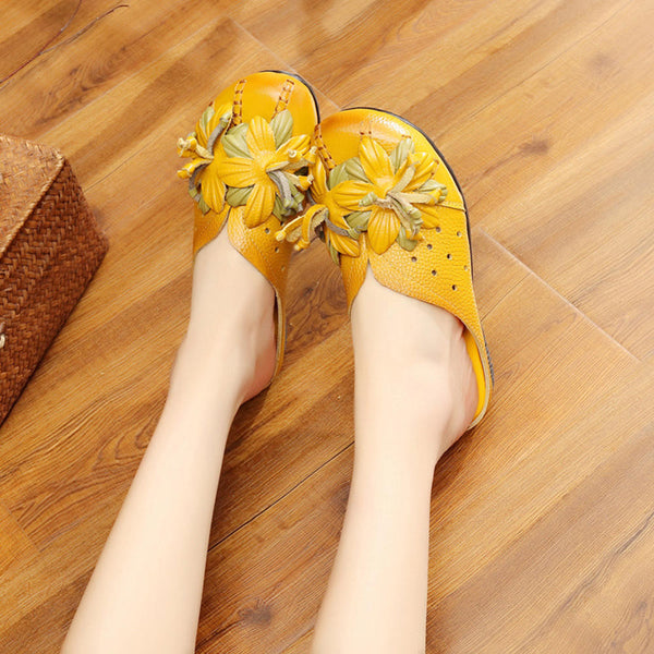 Women Daily Comfy Shoes Genuine Leather Flower Soft Flat Loafers Sandals