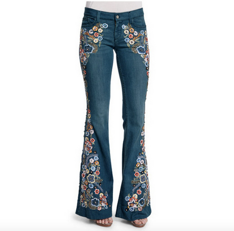 Women's Floral Embroidery Stretchy Bell-Bottom Jeans Vintage Wide Leg Denim Pants 70s Retro Jeans