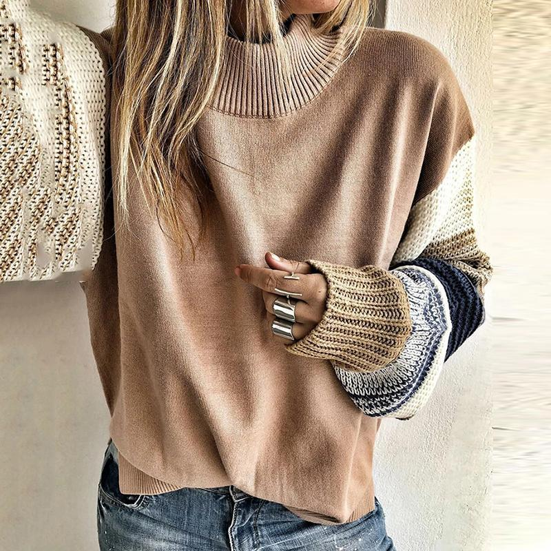 Casual Solid Color Round Neck Loose Long Sleeve Knit Chunky Sweater
