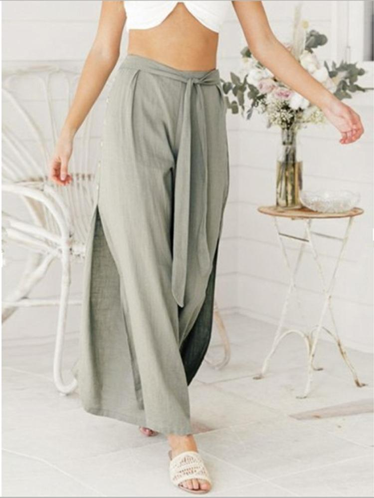 High-waist Slit Casual Wide-leg Pants