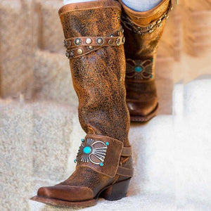 Women's Boho Knee-High Boots Chunky Block Heel Western Cowboy Slip on Tribal Boots