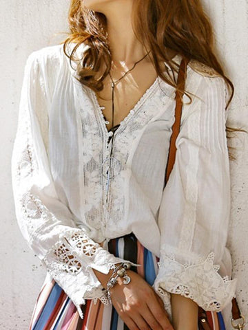 Boho Buttoned V Neck Front Lace Patchwork Long Sleeve Blouse