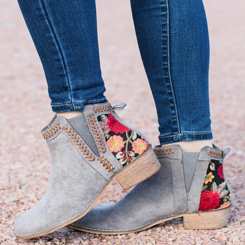 Women's Handmade Vintage Floral Embroidery Ethnic Ankle Boots