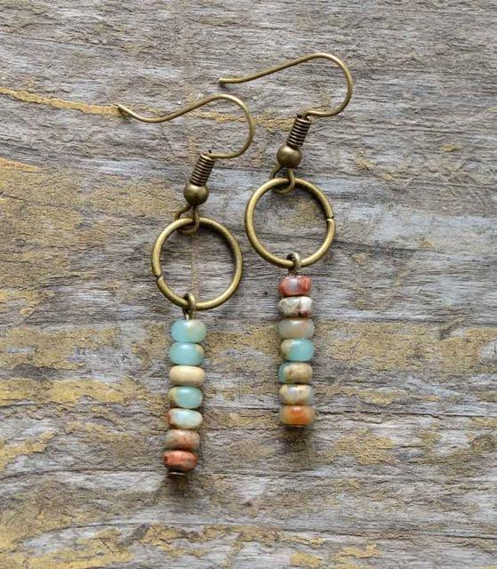 Nostalgia Earrings Vintage Natural Stone - Nostalgiastyles Clothing Store Co.