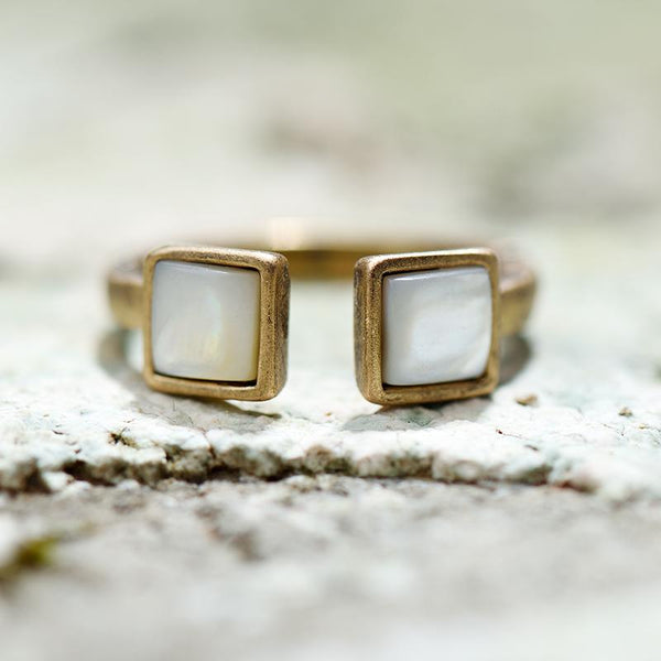 Nostalgia Open Finger Rings With Natural Shell - Nostalgiastyles Clothing Store Co.