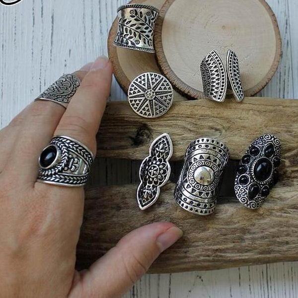 2019 Bohemia Vintage Boho Jewelry Rings Mixed - Nostalgiastyles Clothing Store Co.
