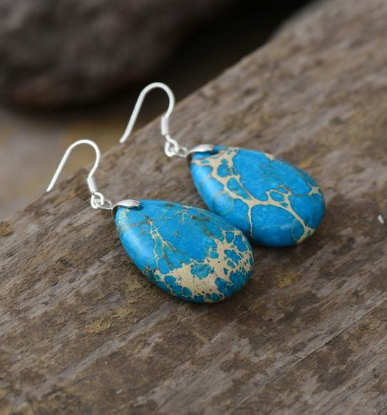 Nostalgia Earrings Natural Stones Teardrop - Nostalgiastyles Clothing Store Co.