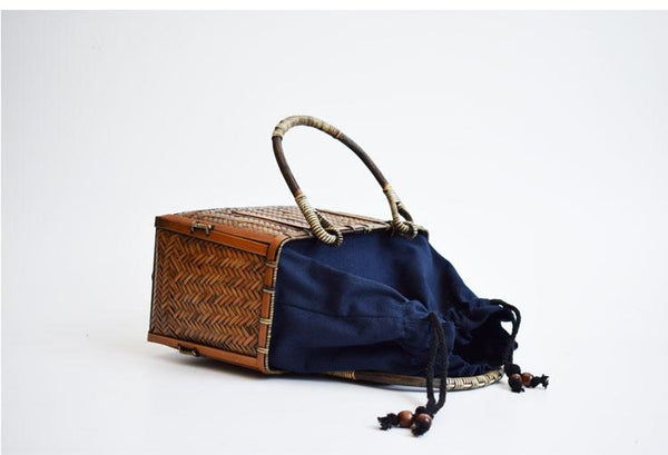 Vacation Vintage Handcrafted Bamboo Woven Bag