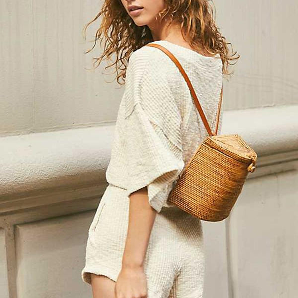 Bohemian Bali New Handmade Rattan Woven Backpack