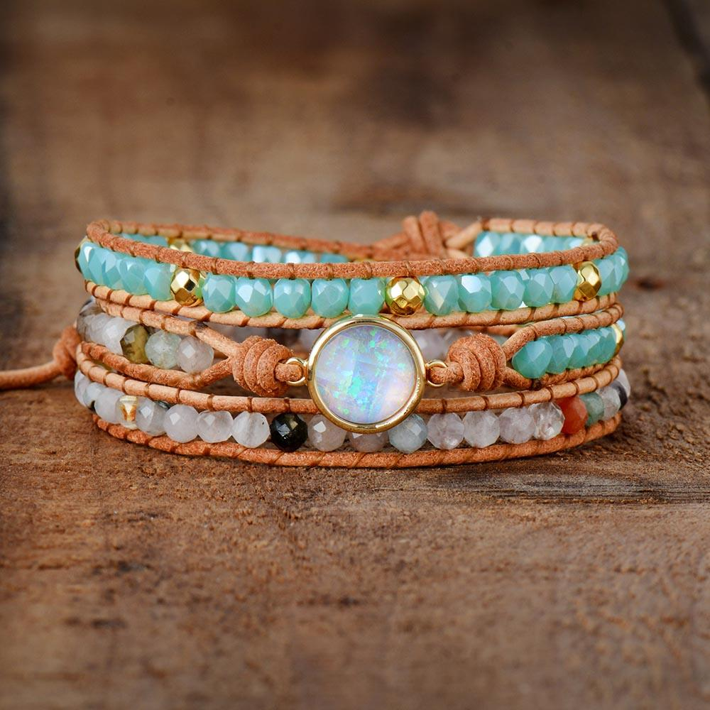 Vintage Boho Women Bracelets Natural Opal Stone Rhinestone 3 Rows Leather Wrap Bracelet
