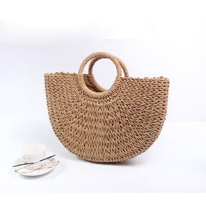 Boho Bags Women Pompon Beach Weaving Ladies Straw Bag