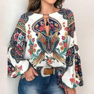 Long Sleeve Floral Print Boho Blouse - mookyboutique