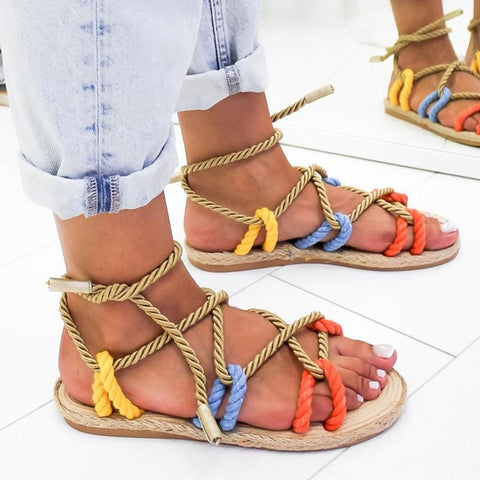 Boho Sandals Flat Hemp Rope Lace Up Gladiator