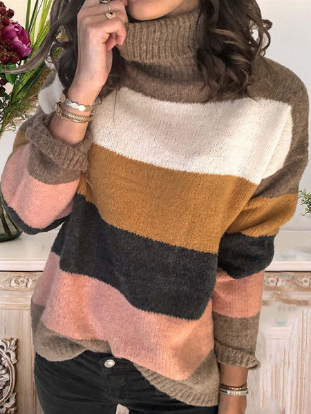 Color-Block Casual Long Sleeve Turtleneck Sweater