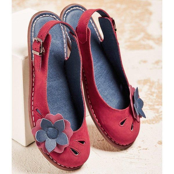 Women Flower Trim Adjustable Buckle Soft Slip On Comfy Casual Daily Flats