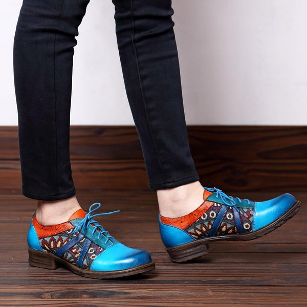 Retro Floral Printed All Season Daily Genuine Leather Loafers