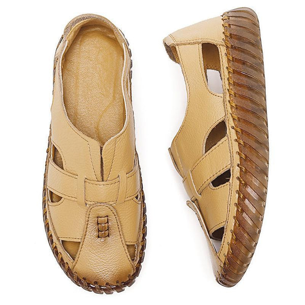 Handmade Genuine Leather Fisherman Hollow Out Flat Shoes Sandals