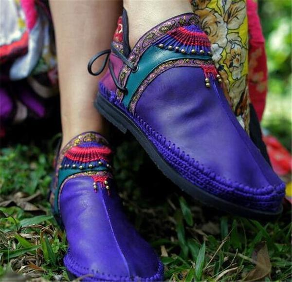 Women Handmade Comfortable Casual Round Toe Booties Flats