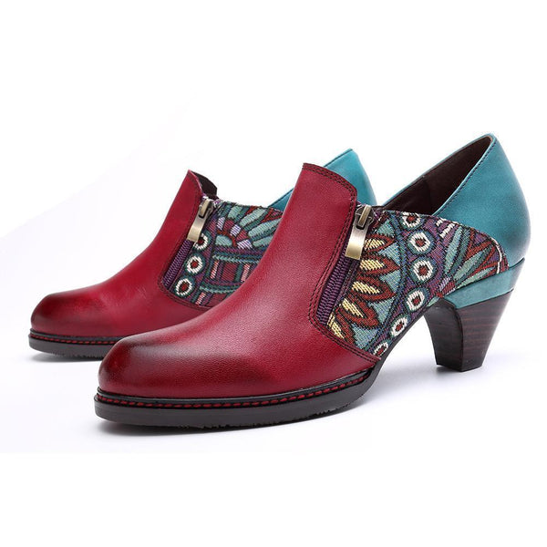 Handmade Retro Jacquard Splicing Pattern Mid Heel Leather Boots Booties