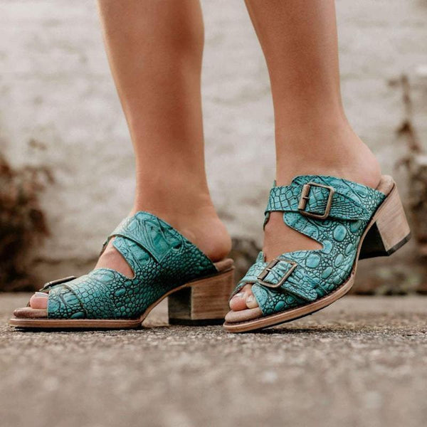 Retro fish mouth high heel pattern sandals