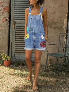 Vacation Casual Sleeveless Denim Embroidery Floral Print One-Piece Shorts
