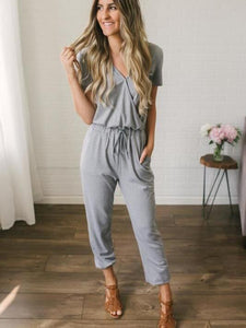 Solid Color Deep V Neck Cross Jumpsuit