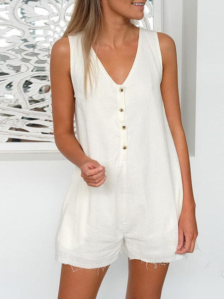 V Neck Sleeveless Casual One-Pieces Rompers