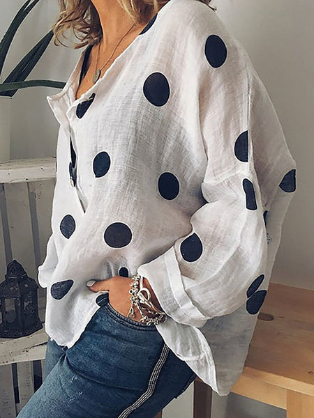 Polka Dot Cardigan Fashion V Neck Long Sleeve Plus Size Shirt Blouse