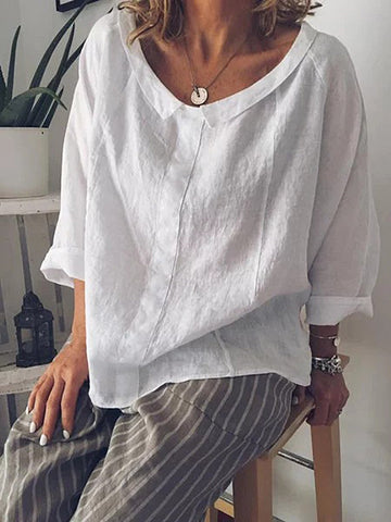 Solid Wide Peter Pan Collar Pullover Cotton Blend Plus Size Shirt Blouse