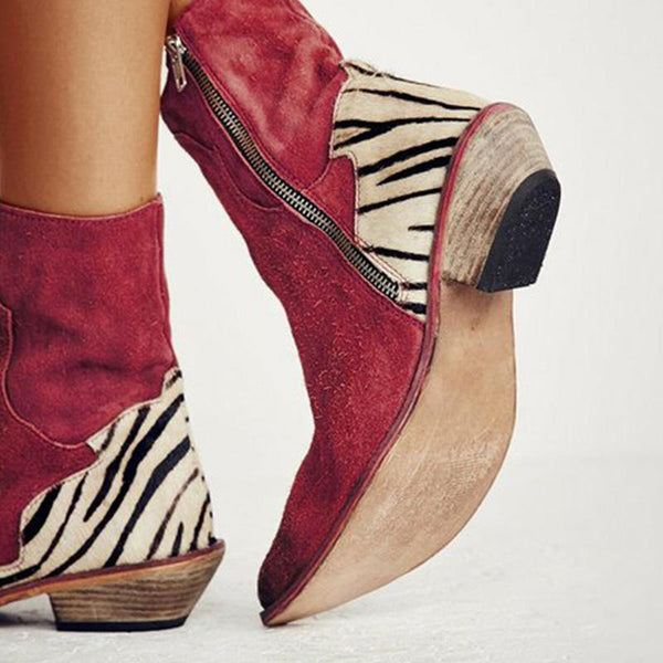 Women Ankle Suede Flat Heel Cowboy Boots