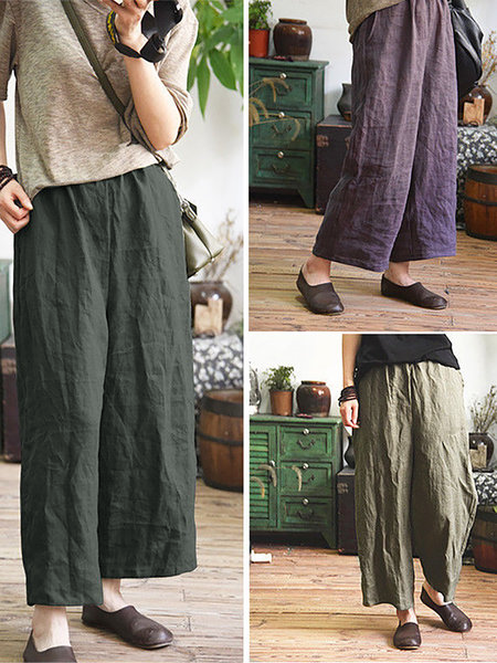 Women Casual Large Size Linen Loose Wide Leg Cozy Pants